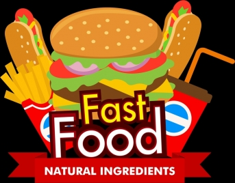 fast food advertising template food icons text ribbon ornament