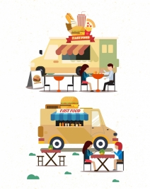 fast food advertising truck guests icons colored cartoon