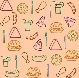 fast food background various symbols sketch repeating design