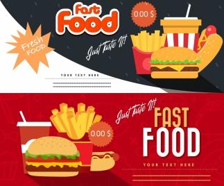 fast food coupon templates horizontal modern design