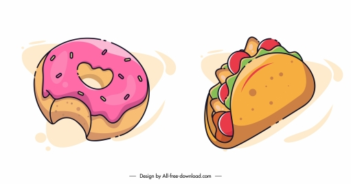fast food icon classic pie tacos sketch