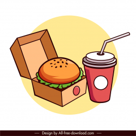 fast food icon hamburger drink sketch colorful classic