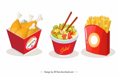 fast food icons chickens chips salad sketch