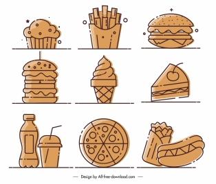 fast food icons classic flat handdrawn sketch