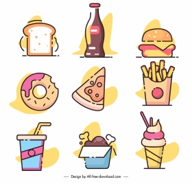 fast food icons classic flat sketch colorful design