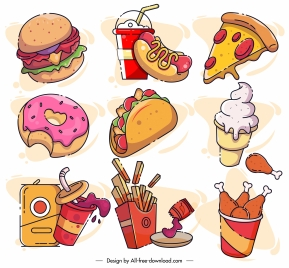 fast food icons dynamic colorful classical handdrawn sketch