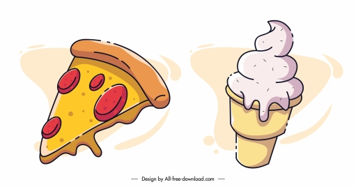 fast food icons pizza ice cream sketch