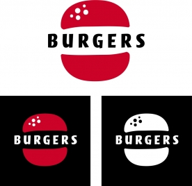 fast food logotype burgers icon isolation