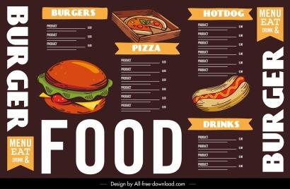 fast food menu template colorful classical decor