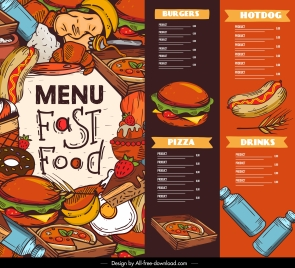 fast food menu template colorful messy classical decor