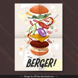 fast food poster hamburger icon colorful motion decor