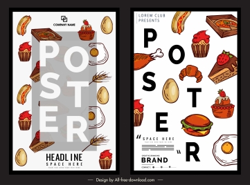 fast food poster templates colorful classic decor