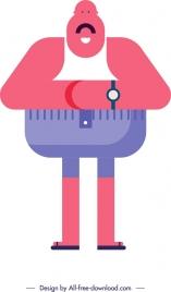 fat man icon funny cartoon character flat design