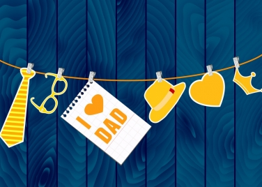 father day background hanging objects decoration colored icons