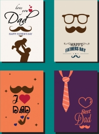 father day background sets flat design classical decoration