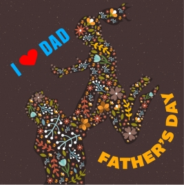 father day background with abstract flowers decoration