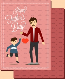 father day card colored human icons pink backdrop