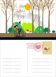 father day postcard human icons colored cartoon decor