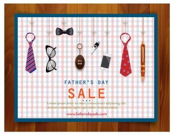 father day sale promotion illustration with gifts icons