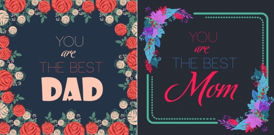 father mother day banner templates colorful flowers decor