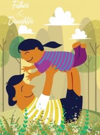 fatherhood drawing playful father girl icons colored cartoon