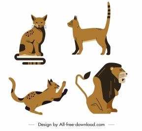 feline animals icons cat lion sketch
