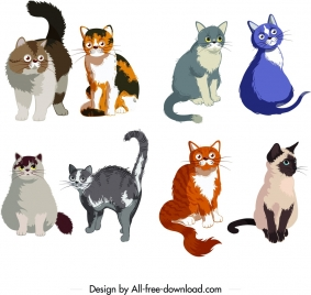 feline icons collection cute colored cartoon sketch