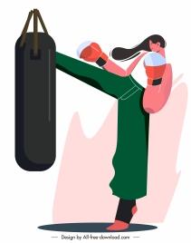 female boxer icon dynamic design cartoon character