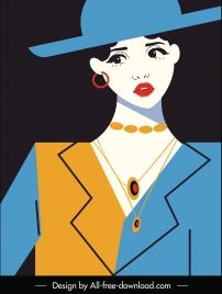 female fashion banner dark flat handdrawn sketch