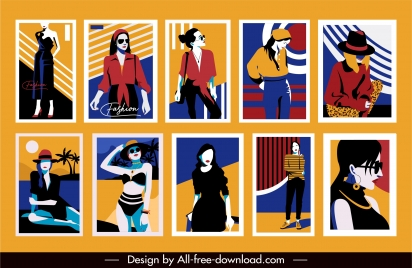 female fashion banner templates colorful classic sketch