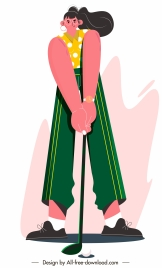 female golfer icon cartoon character sketch