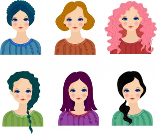 female hairstyle collection avatar icons colored cartoon design