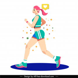 female jogger icon flat cartoon character sketch