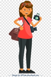 female journalist icon cartoon character sketch