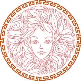 female portrait design with flowers and circle frame