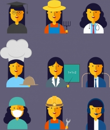 female profession icons collection colored cartoon characters
