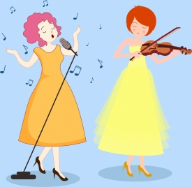 female singer icons colored cartoon character