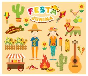festa junina festival vector illustration with various styles