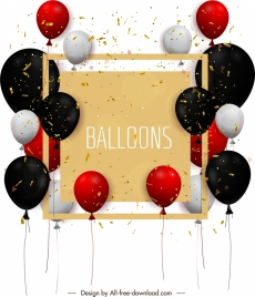 festival banner template colorful balloons confetti modern design