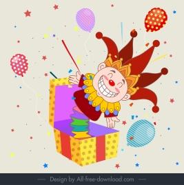 festive background clown box sketch colorful eventful decor