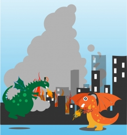 fighting dragons background colorful cartoon design