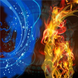 Fire and water abstract background