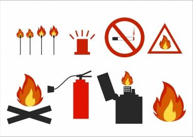 fire design elements various flat symbols