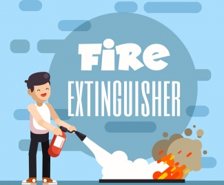 fire extinguish background man tool flame icons