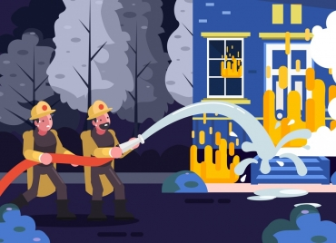 fire fighting painting firemen building hose water icons