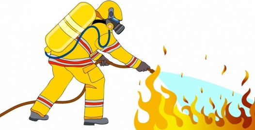 fire fighting work background fireman flame icons