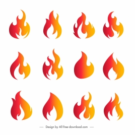 fire icons collection flat orange shapes