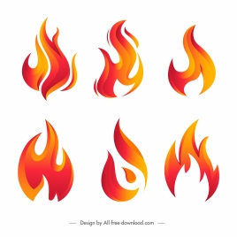 fire logo templates modern orange shapes