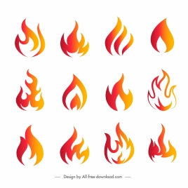fire logotypes collection dynamic orange flat shapes