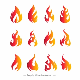 fire logotypes flat orange decor dynamic modern design